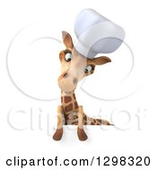 Clipart Of A 3d Chef Giraffe Looking Down At A Sign Royalty Free Illustration