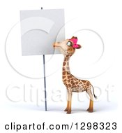 Clipart Of A 3d Female Giraffe Looking Down At A Blank Sign Royalty Free Illustration by Julos