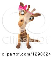 Clipart Of A 3d Female Giraffe Looking Down Over A Sign Royalty Free Illustration by Julos