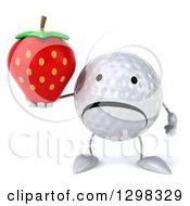 Clipart Of A 3d Unhappy Golf Ball Character Holding A Strawberry Royalty Free Illustration