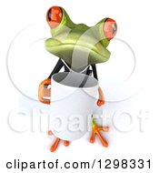 Clipart Of A 3d Green Business Springer Frog Boss Holding Up A Coffee Mug Royalty Free Illustration