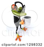 Clipart Of A 3d Bespectacled Green Business Springer Frog Boss Facing Right And Holding A Coffee Mug Royalty Free Illustration