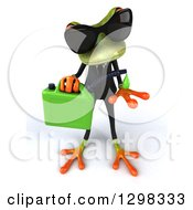 Clipart Of A 3d Green Business Springer Frog Wearing Sunglasses And Catching Dripping Biofuel Royalty Free Illustration