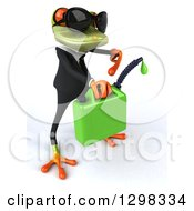 Clipart Of A 3d Green Business Springer Frog Facing Right Wearing Sunglasses And Pointing To Dripping Biofuel Royalty Free Illustration