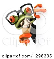 Clipart Of A 3d Bespectacled Green Business Springer Frog Eating An Ice Cream Cone Around A Sign Royalty Free Illustration