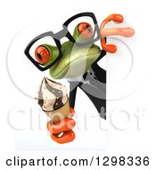 Clipart Of A 3d Bespectacled Green Business Springer Frog Holding An Ice Cream Cone Around A Sign Royalty Free Illustration