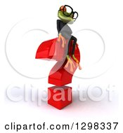 Clipart Of A 3d Bespectacled Green Business Springer Frog Facing Right And Sitting On A Question Mark Royalty Free Illustration