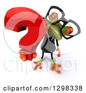 Clipart Of A 3d Bespectacled Green Business Springer Frog Holding Up A Question Mark Royalty Free Illustration