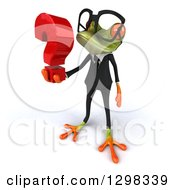 Clipart Of A 3d Bespectacled Green Business Springer Frog Facing Left And Holding A Question Mark Royalty Free Illustration