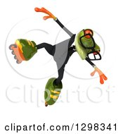 Clipart Of A 3d Bespectacled Green Business Springer Frog Jumping In Roller Blades Royalty Free Illustration