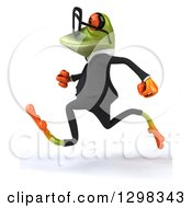 Clipart Of A 3d Bespectacled Green Business Springer Frog Running To The Left Royalty Free Illustration