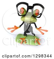 Clipart Of A 3d Bespectacled Green Business Springer Frog Looking Up And Skateboarding Royalty Free Illustration