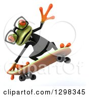 Clipart Of A 3d Bespectacled Green Business Springer Frog Jumping And Skateboarding Royalty Free Illustration