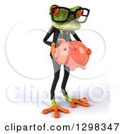 Clipart Of A 3d Bespectacled Green Business Springer Frog Facing Slightly Right And Holding A Piggy Bank Royalty Free Illustration