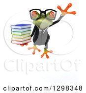 Clipart Of A 3d Bespectacled Green Business Springer Frog Leaping Forward And Holding A Stack Of Books Royalty Free Illustration
