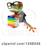 Clipart Of A 3d Bespectacled Green Business Springer Frog Leaping To The Left And Holding A Stack Of Books Royalty Free Illustration