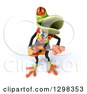 Clipart Of A 3d Green Business Springer Frog Wearing A Hawaiian Lei And Playing A Ukulele 3 Royalty Free Illustration by Julos