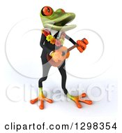 Clipart Of A 3d Green Business Springer Frog Wearing A Hawaiian Lei And Playing A Ukulele Royalty Free Illustration