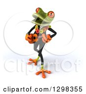 Clipart Of A 3d Green Business Springer Frog Wearing A Hawaiian Lei And Playing A Ukulele 2 Royalty Free Illustration