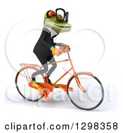Clipart Of A 3d Bespectacled Green Business Springer Frog Riding A Bicycle To The Right Royalty Free Illustration