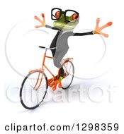 Clipart Of A 3d Bespectacled Green Business Springer Frog Riding A Bicycle With No Hands To The Left Royalty Free Illustration