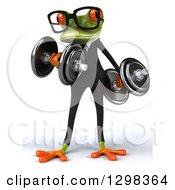 Clipart Of A 3d Green Bespectacled Business Springer Frog Doing Bicep Curls With Dumbbells Royalty Free Illustration