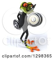 Clipart Of A 3d Green Bespectacled Business Springer Frog Facing Right And Doing Bicep Curls With Dumbbells Royalty Free Illustration