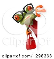 Clipart Of A 3d Bespectacled Green Female Frog Holding A Red Purse Around A Sign Royalty Free Illustration