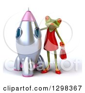 Clipart Of A 3d Green Female Frog Standing By A Rocket Royalty Free Illustration