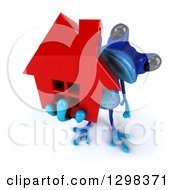 Clipart Of A 3d Blue Frog Holding Up A Red House Royalty Free Illustration by Julos