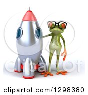 Clipart Of A 3d Bespectacled Green Springer Frog Standing By A Rocket Royalty Free Illustration by Julos