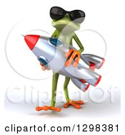 Clipart Of A 3d Green Springer Frog Wearing Sunglasses Walking And Carrying A Rocket Royalty Free Illustration by Julos