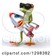 Clipart Of A 3d Green Springer Frog Wearing Sunglasses Walking To The Left And Carrying A Rocket Royalty Free Illustration by Julos