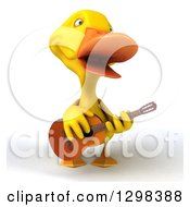 Clipart Of A 3d Yellow Duck Singing And Playing A Guitar Royalty Free Illustration by Julos