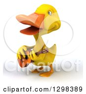 Clipart Of A 3d Yellow Duck Facing Left Singing And Playing A Guitar Royalty Free Illustration by Julos