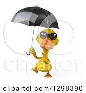 Clipart Of A 3d Yellow Duck Wearing Sunglasses Walking With And Pointing To An Umbrella Royalty Free Illustration by Julos