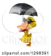 Clipart Of A 3d Yellow Duck Wearing Sunglasses Walking To The Left And Holding An Umbrella Royalty Free Illustration by Julos