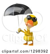 Clipart Of A 3d Yellow Duck Wearing Sunglasses Holding And Pointing To An Umbrella Royalty Free Illustration by Julos