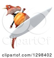 Clipart Of A 3d Red Business Dragon Surfing Royalty Free Illustration