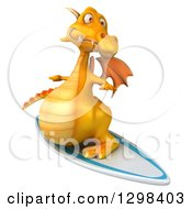 Clipart Of A 3d Yellow Dragon Surfing Royalty Free Illustration
