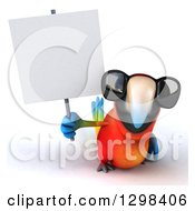 Clipart Of A 3d Scarlet Macaw Parrot Wearing Sunglasses And Holding A Blank Sign Royalty Free Illustration