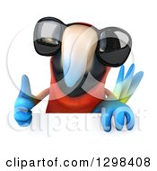 Clipart Of A 3d Scarlet Macaw Parrot Wearing Sunglasses And Giving A Thumb Up Over A Sign Royalty Free Illustration