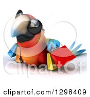 Clipart Of A 3d Scarlet Macaw Parrot Wearing Sunglasses And Walking Left With Shopping Bags Royalty Free Illustration