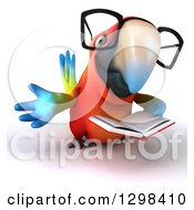 Clipart Of A 3d Bespectacled Scarlet Macaw Parrot Reading A Book And Presenting Royalty Free Illustration