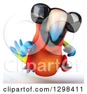 Clipart Of A 3d Scarlet Macaw Parrot Wearing Sunglasses And Running Royalty Free Illustration by Julos