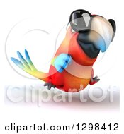 Clipart Of A 3d Scarlet Macaw Parrot Wearing Sunglasses And Running Slightly Right Royalty Free Illustration