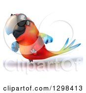 Clipart Of A 3d Scarlet Macaw Parrot Wearing Sunglasses And Running To The Left Royalty Free Illustration