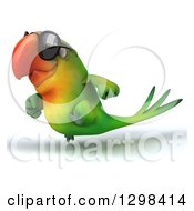 Clipart Of A 3d Green Macaw Parrot Wearing Sunglasses And Running To The Left Royalty Free Illustration