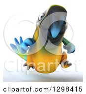 Clipart Of A 3d Blue And Yellow Macaw Parrot Running Royalty Free Illustration by Julos