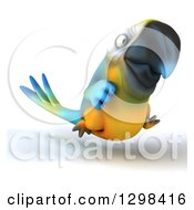 Clipart Of A 3d Blue And Yellow Macaw Parrot Running Slightly To The Right Royalty Free Illustration by Julos